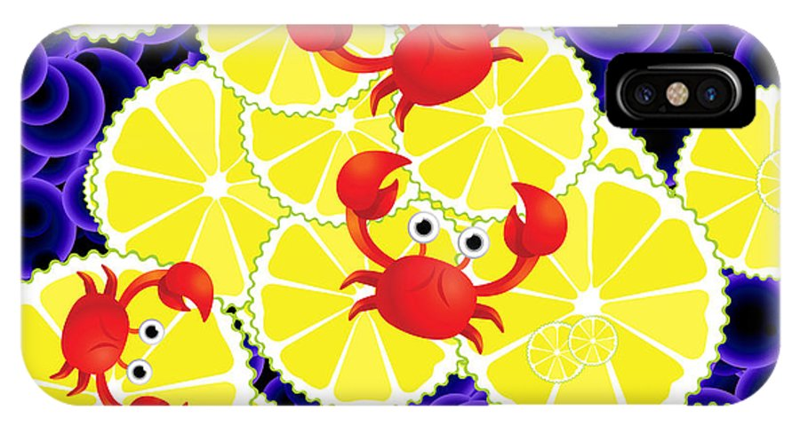 Crabs IPhone X Case featuring the digital art Crabs On Lemon by Gaspar Avila
