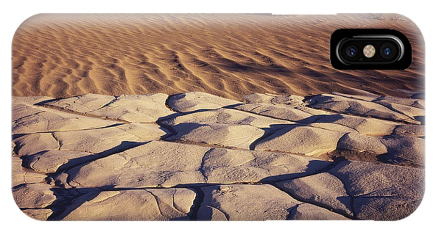 Nature Photography IPhone X / XS Case featuring the photograph Cracked Mud - Sand Ripples by Tom Daniel