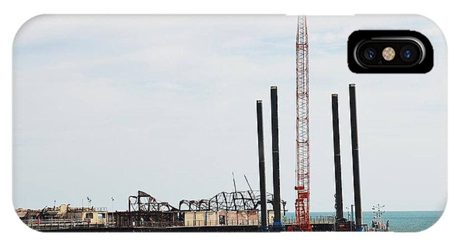Hastings IPhone X Case featuring the photograph Crane Barge At Hastings Pier by David Fowler