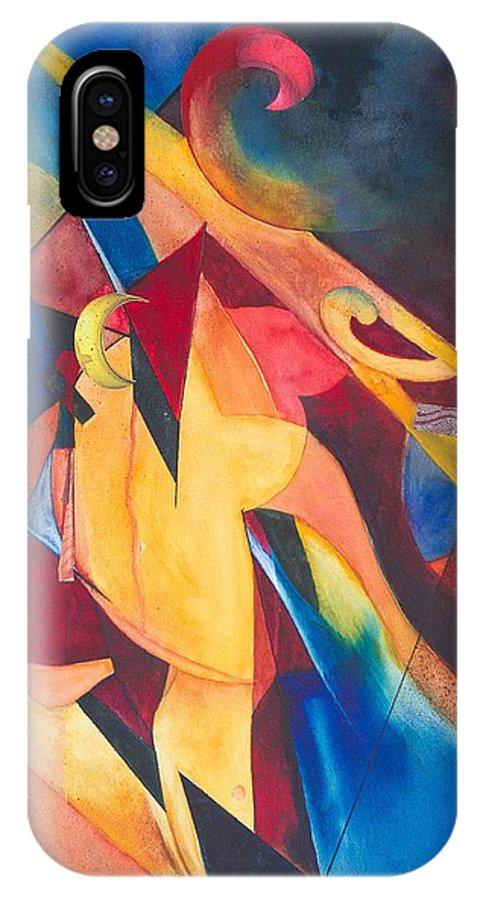 Crane IPhone X / XS Case featuring the painting Crane Dance by Eldora Schober Larson