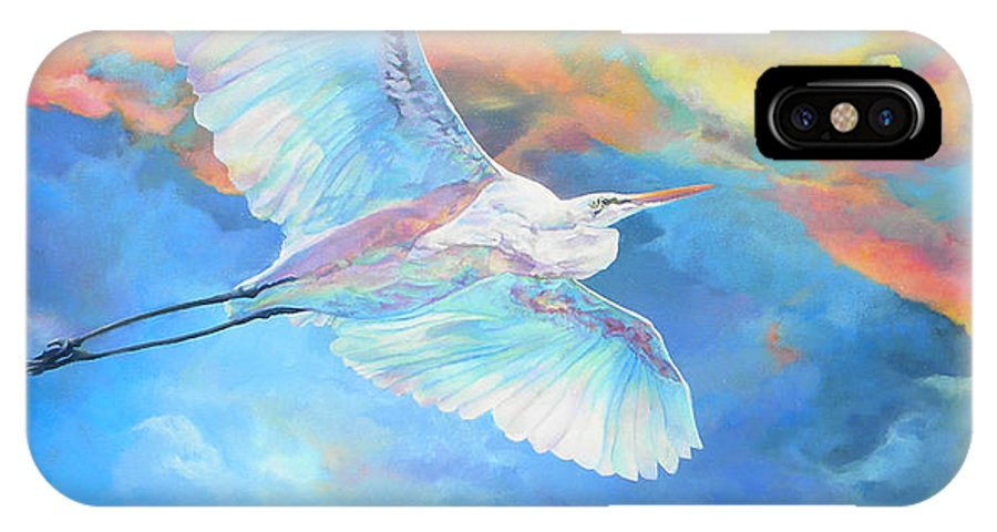 Bird IPhone X Case featuring the painting Crane by Kathryn Alexander