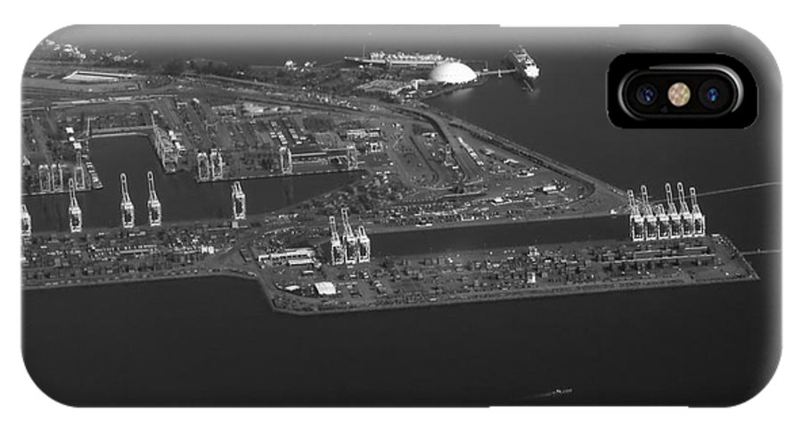 Port Of San Pedro Ca IPhone X / XS Case featuring the photograph Cranes Long Beach Ca Aerial Bw by Thomas Woolworth