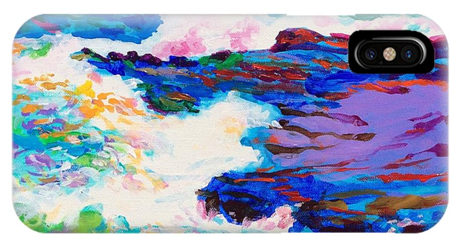 Ocean IPhone X Case featuring the painting Crash by David Friedman