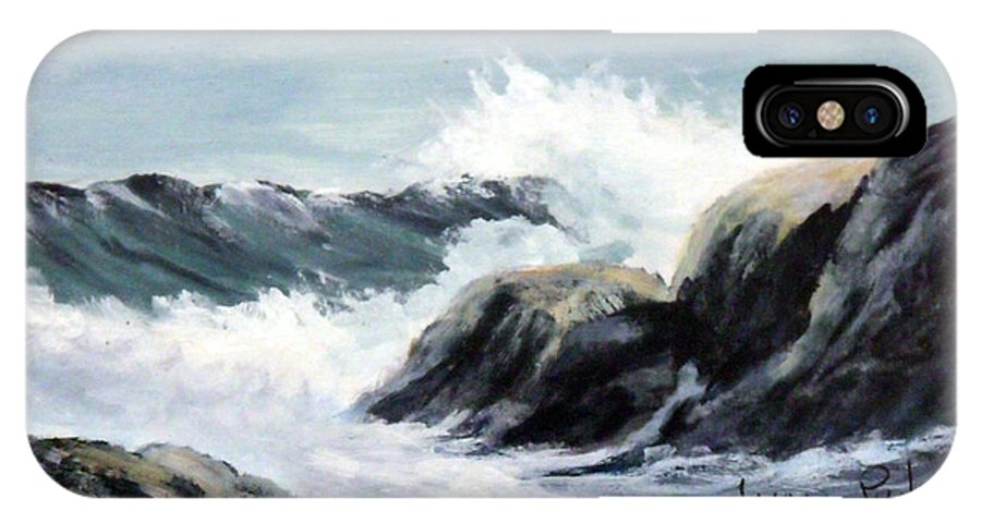 Seascape IPhone X Case featuring the painting Crashing Sea by Lynne Parker