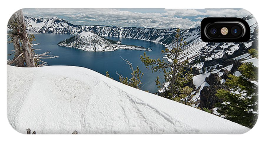 Crater Lake IPhone X Case featuring the photograph Crater Lake And Wizard Island In June by Greg Nyquist