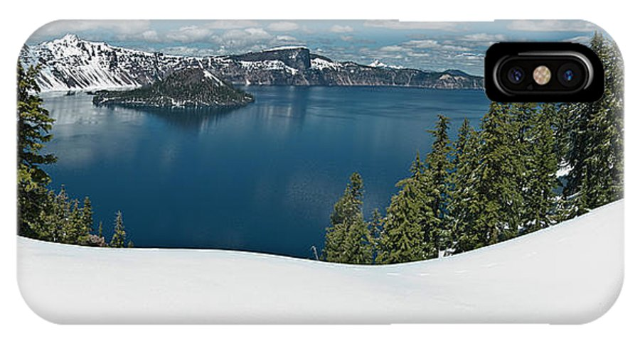 Crater Lake IPhone X Case featuring the photograph Crater Lake Panorama by Greg Nyquist