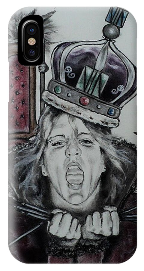 Queen IPhone X Case featuring the drawing Crazy Carla Queen Of Charcoal Land by Carla Carson