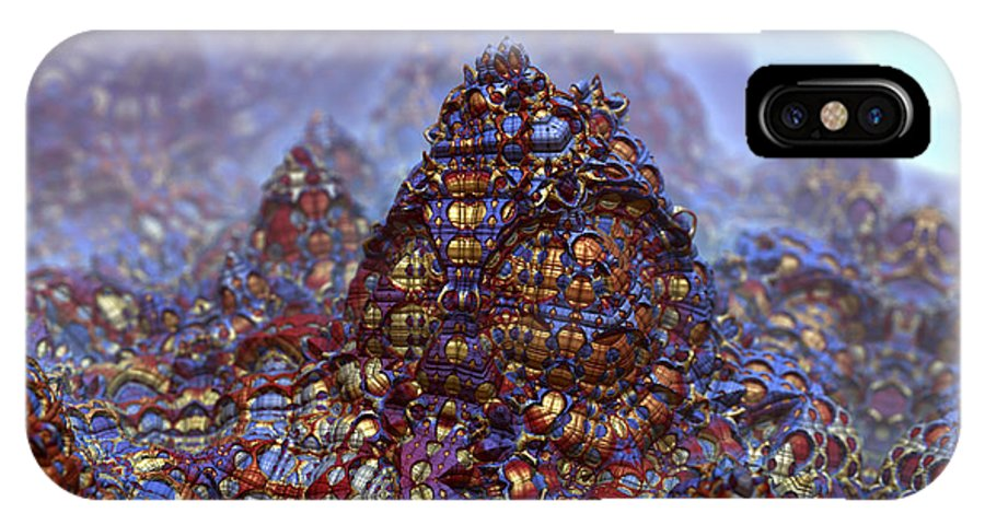 Creatures Blue Vale Metallic Abstract Digital Mandelbulb 3d IPhone X Case featuring the digital art Creatures Of The Blue Vale by Trenton Shuck