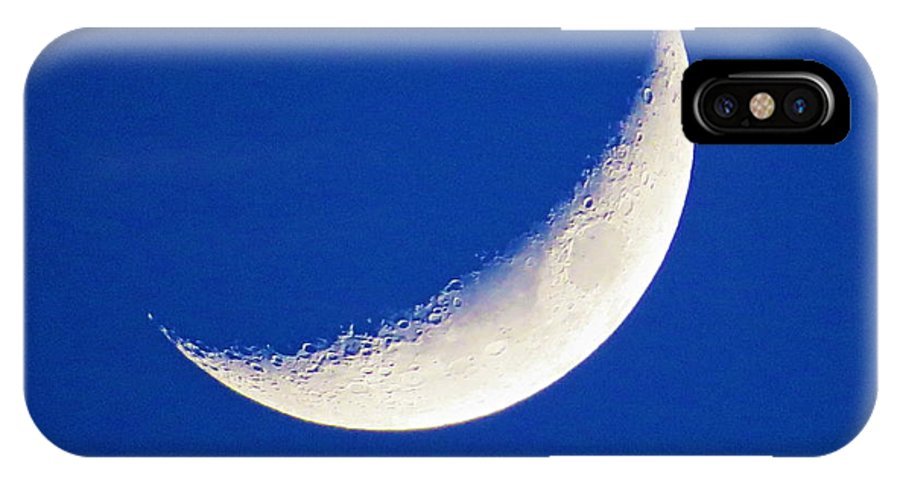 Moon IPhone X Case featuring the photograph Crescent Moon by Brian Maloney