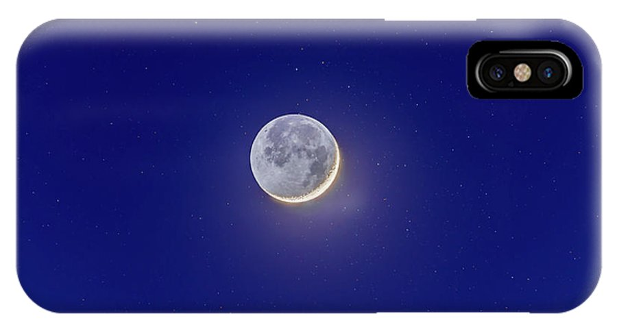 Alan Dyer IPhone X Case featuring the photograph Crescent Moon With Earthshine Amid Stars by Alan Dyer
