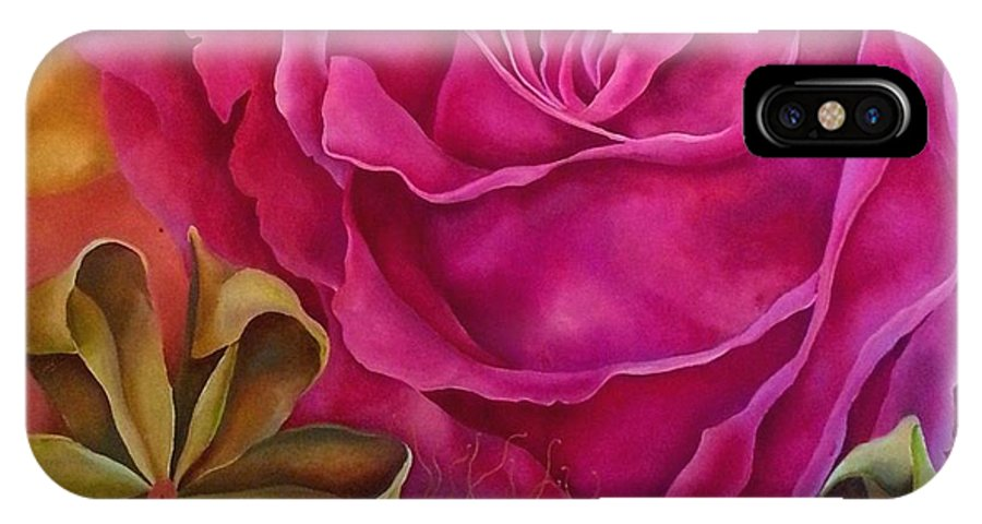 Pink IPhone X Case featuring the painting Crespon by Elizabeth Elequin