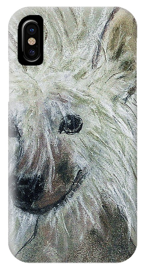 Chinese Crested IPhone X Case featuring the drawing Crested Star by Cori Solomon