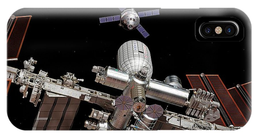 Space Exploration IPhone X Case featuring the photograph Crew Exploration Vehicle Approaching Iss by Walter Myers/science Photo Library