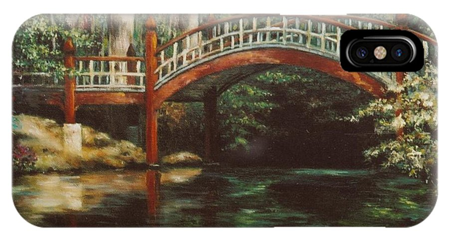 Crim Dell IPhone X Case featuring the painting Crim Dell Bridge - College Of William And Mary by Gulay Berryman