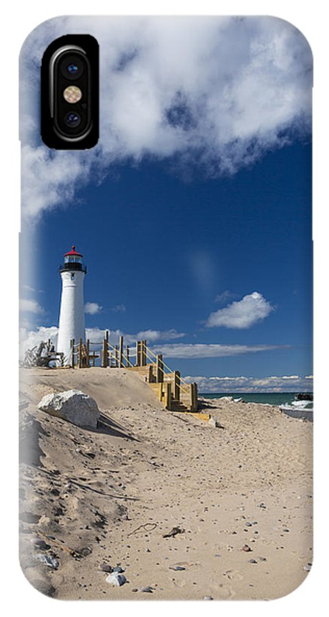 Crisp IPhone X Case featuring the photograph Crisp Point Lighthouse 18 by John Brueske