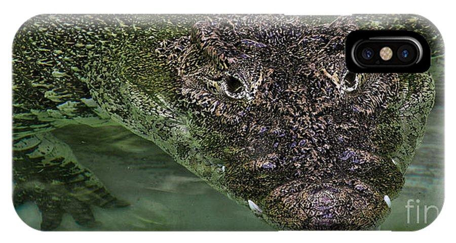 Crocodile IPhone X Case featuring the photograph Crocodile by Joel De la torre