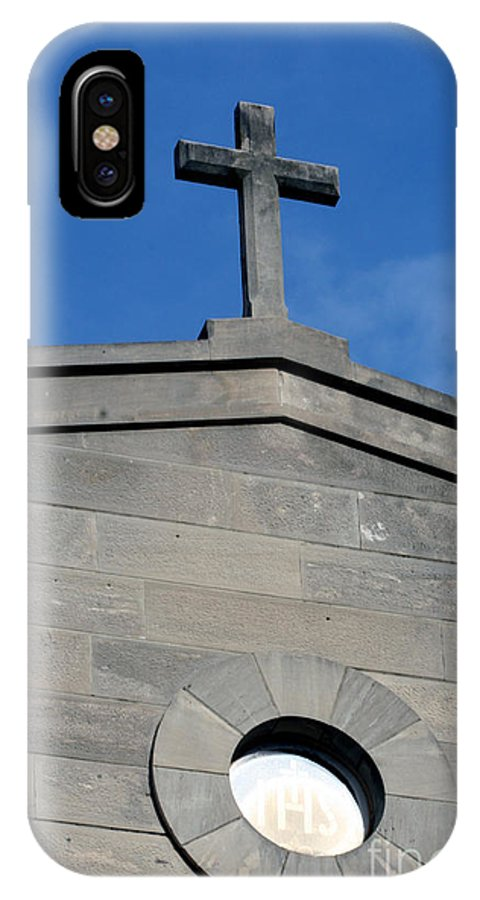 Religious IPhone X / XS Case featuring the photograph Religious Art Cross Architectural by Lesa Fine