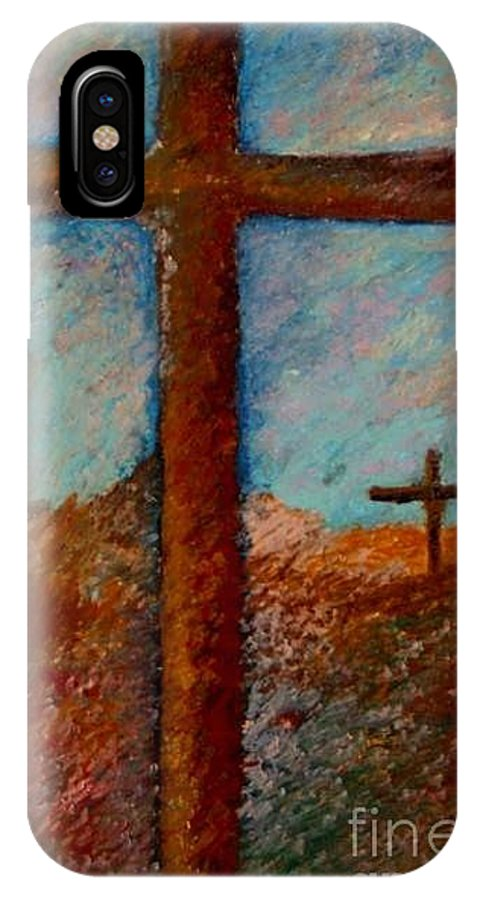 Cross Landscape IPhone X Case featuring the pastel Cross by Jon Kittleson