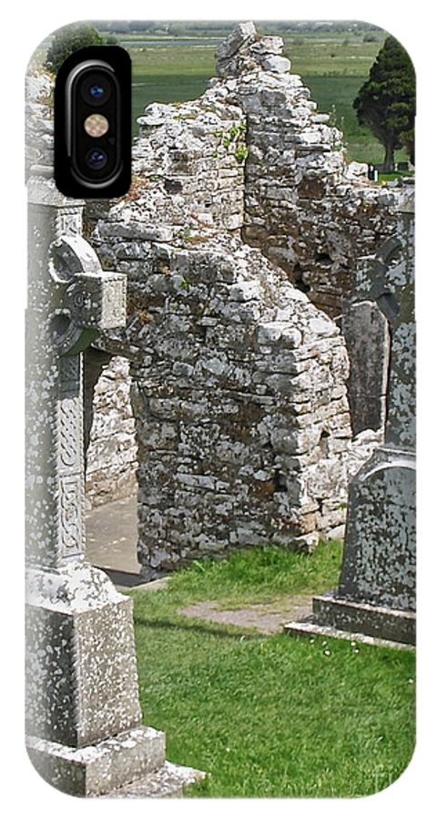 Irish Cross IPhone X / XS Case featuring the photograph Crosses Of Clonmacnoise by Suzanne Oesterling