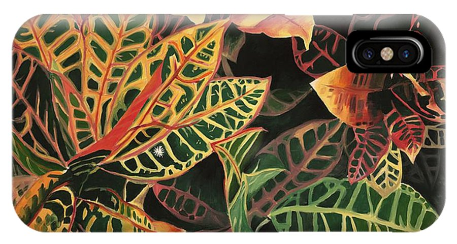 Croton Leaves IPhone X Case featuring the painting Croton Leaves by Judy Swerlick