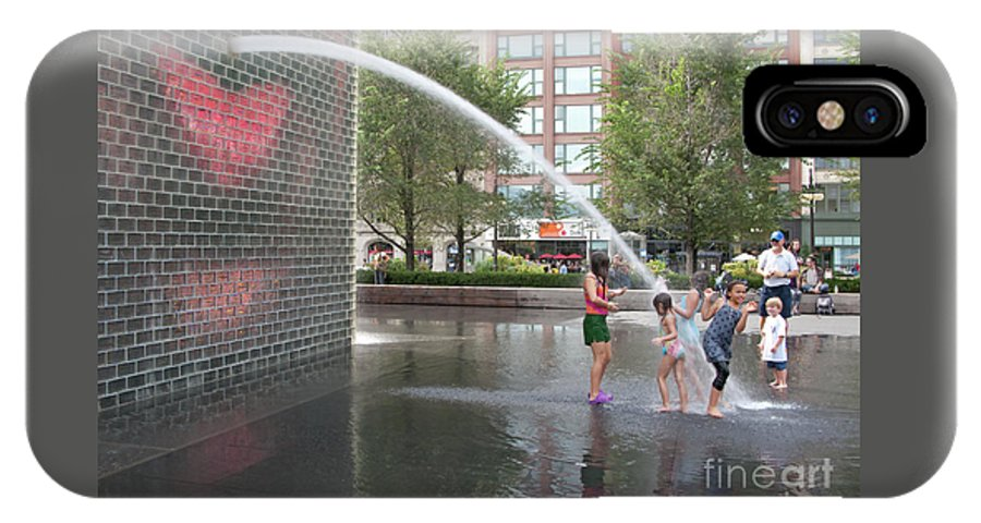 Chicago IPhone X Case featuring the photograph Crown Fountain Play by Ann Horn