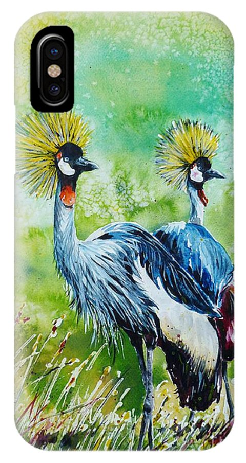 crowned Cranes IPhone X Case featuring the painting Crowned Cranes by Zaira Dzhaubaeva