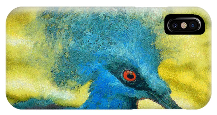 Rossidis IPhone X Case featuring the painting Crowned Pigeon by George Rossidis