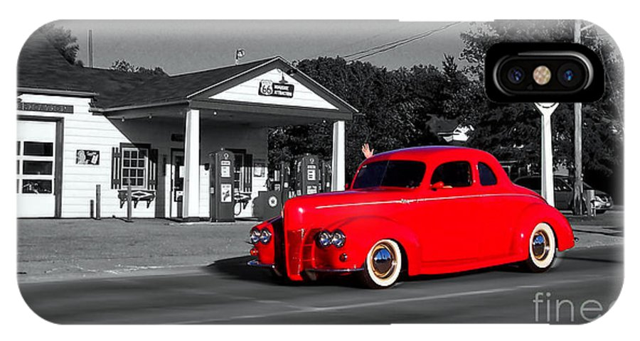 Selective Coloring IPhone X Case featuring the photograph Cruising Route 66 Dwight Il Selective Coloring Digital Art by Thomas Woolworth