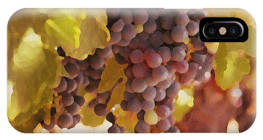 Grapes IPhone X Case featuring the drawing Crush Time by Artist and Photographer Laura Wrede