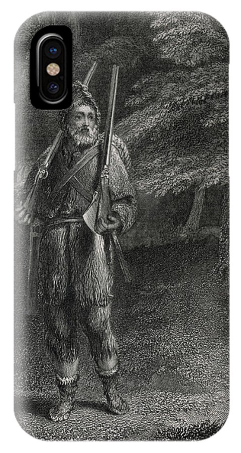 Crusoe IPhone X Case featuring the drawing Crusoe Goes Hunting For Food, Dressed by Mary Evans Picture Library