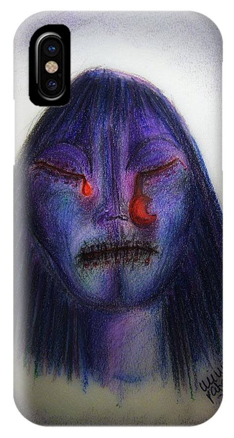 Moon IPhone X Case featuring the drawing Cry Me A Moon by Mimulux patricia No
