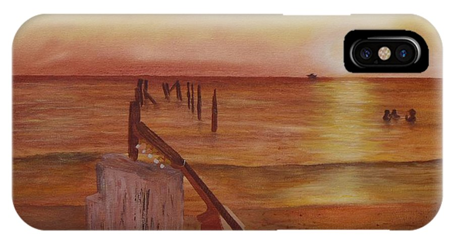 Seascape IPhone X Case featuring the painting Cuatro Sunset by Tony Rodriguez