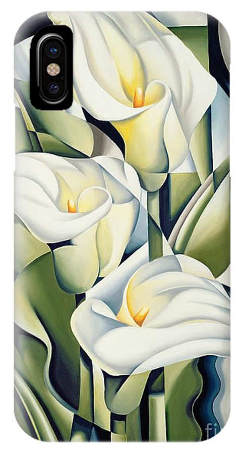Cubist IPhone X Case featuring the painting Cubist Lilies by Catherine Abel