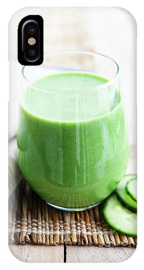 Cucumber IPhone X Case featuring the photograph Cucumber Apple And Kale Smoothie by Gustoimages