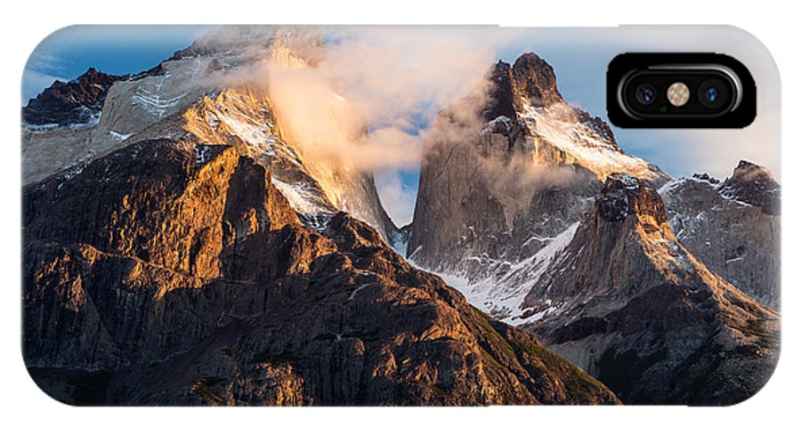 Patagonia IPhone X Case featuring the photograph Cuernos Del Paine At Sunrise by Timothy Hacker