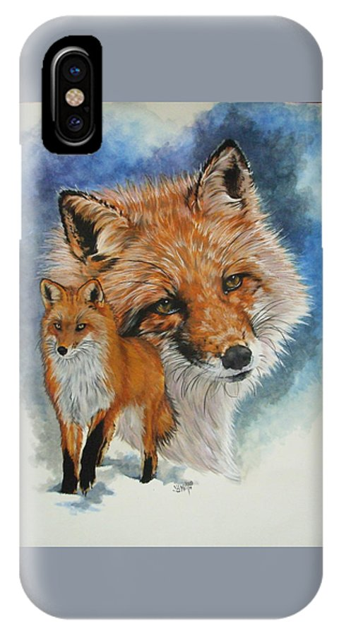 Fox IPhone X Case featuring the mixed media Cunning by Barbara Keith