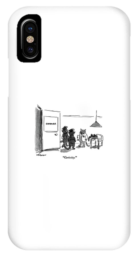 Cat Coroner Says To Cat Policemen IPhone X Case featuring the drawing Curiosity by James Stevenson