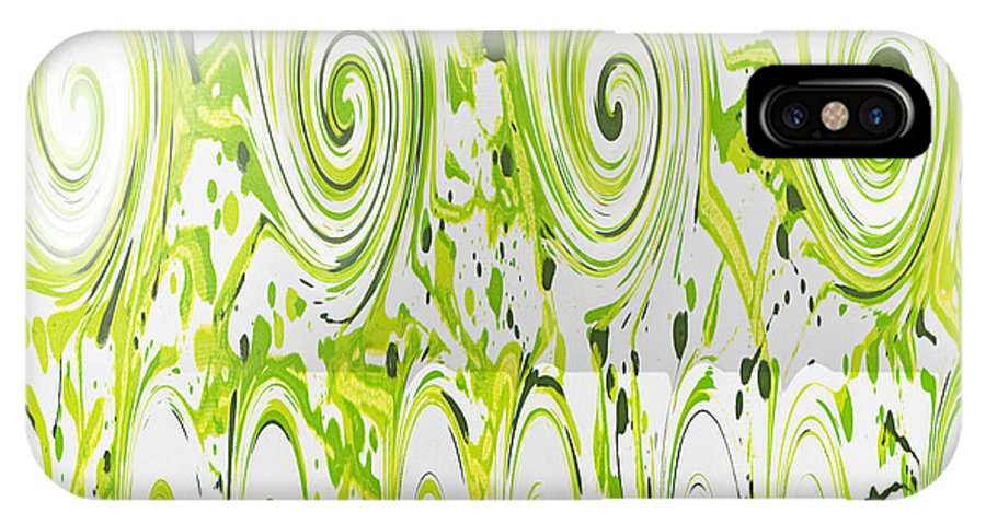 Green IPhone X Case featuring the painting Curly Greens by Alli Cullimore