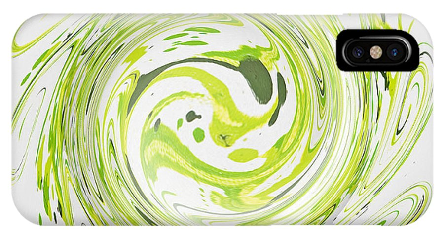 Green IPhone X Case featuring the painting Curly Greens II by Alli Cullimore