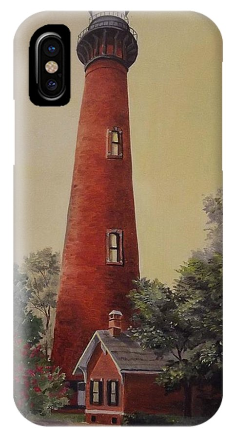 Lighthouse IPhone X Case featuring the painting Currituck Lighthouse by Wanda Dansereau