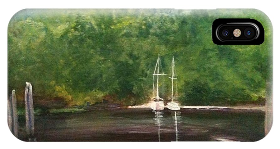 Plein Aire IPhone X Case featuring the painting Curtain's Marina by Sheila Mashaw