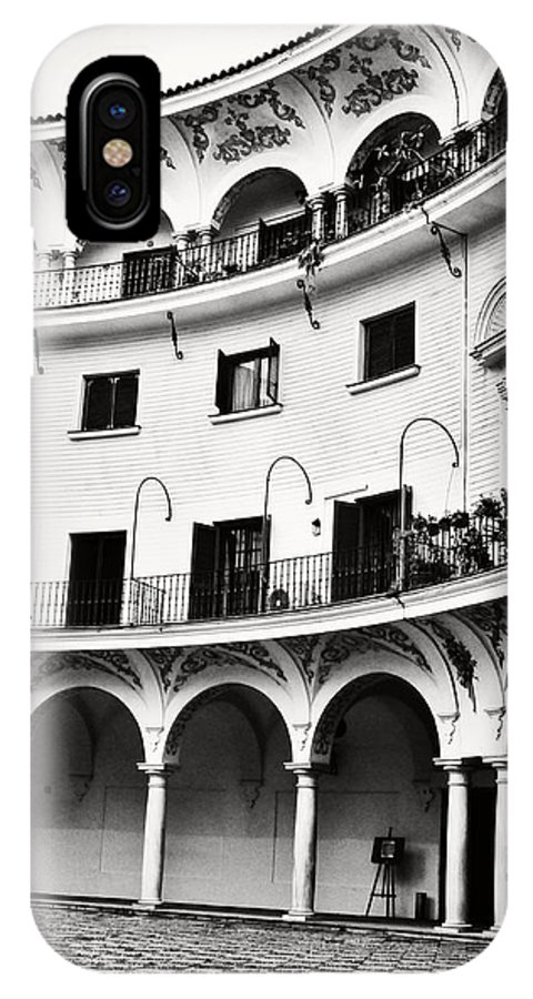 Monochrome Seville Spain Old Vintage Buildings Old Architecture Travel In Spain IPhone X Case featuring the photograph Curved Seville Spain Courtyard by Angela Bonilla