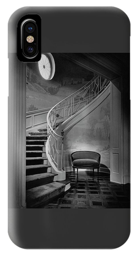 Interior IPhone X Case featuring the photograph Curving Staircase In The Home Of W. E. Sheppard by Maynard Parker