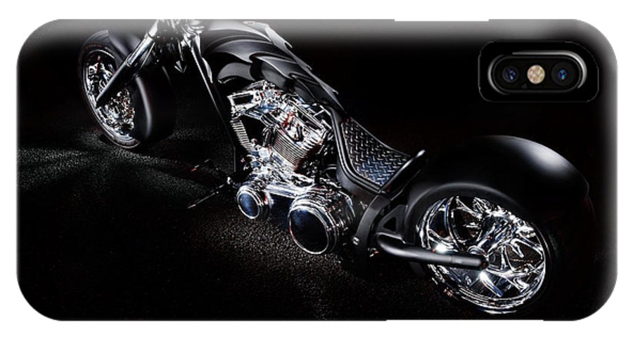 Harley IPhone X Case featuring the photograph Custom Chopper by Frank Kletschkus