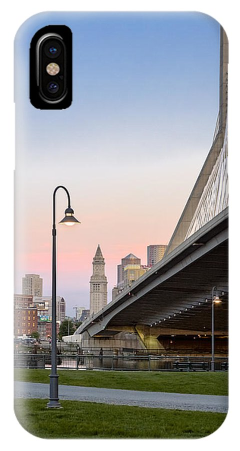Boston IPhone X Case featuring the photograph Custom House And Zakim Bridge by Susan Candelario