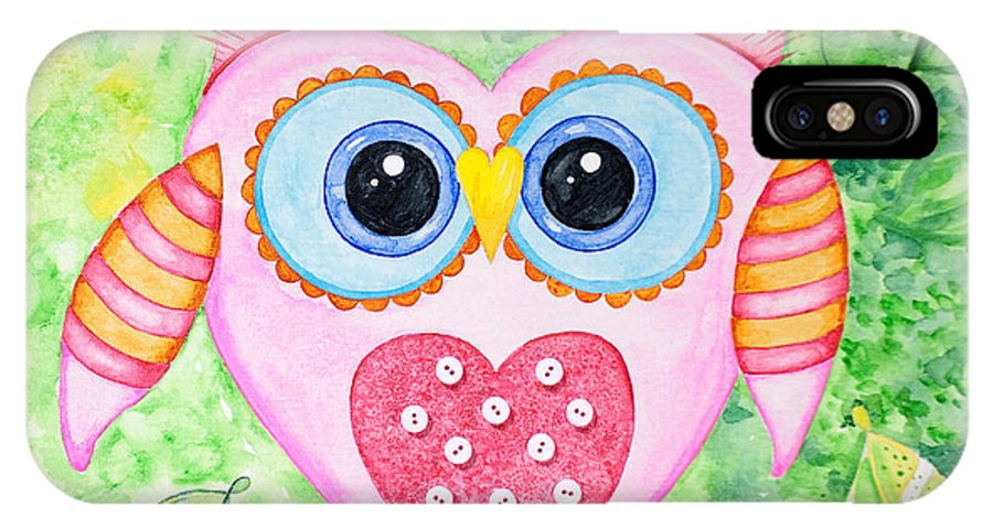Owl IPhone X Case featuring the painting Cute As A Button Owl by Annie Troe