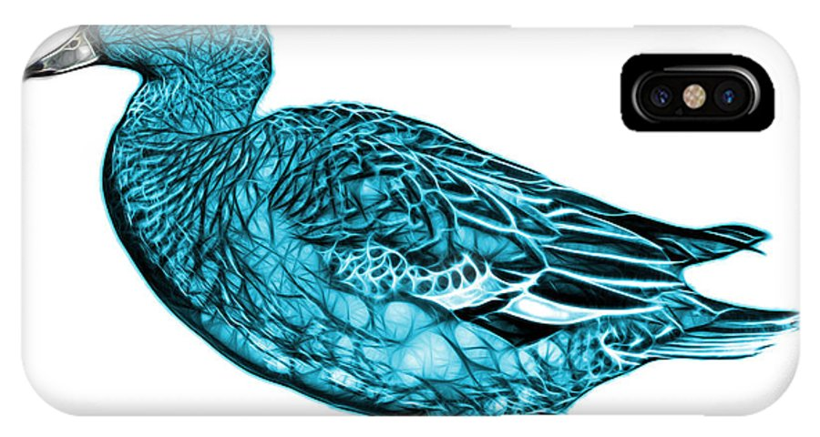 American Wigeon IPhone X Case featuring the mixed media Cyan Wigeon Art - 7415 - Wb by James Ahn