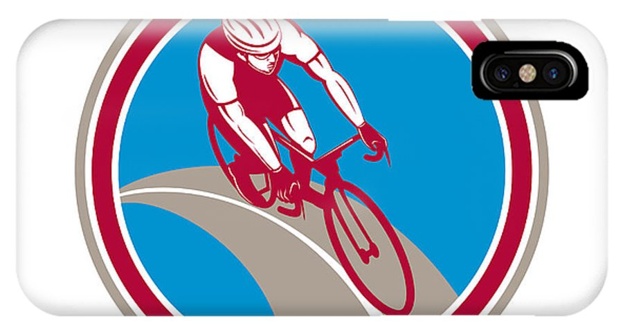 Cyclist IPhone X / XS Case featuring the digital art Cyclist Bicycle Rider Circle Retro by Aloysius Patrimonio