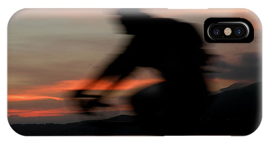 Photographs IPhone X Case featuring the photograph Cyclist In Motion by Brian Chase