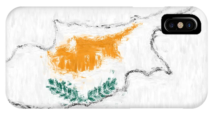 Cyprus IPhone X Case featuring the photograph Cyprus Painted Flag Map by Antony McAulay